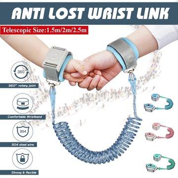 Reflecterende touw + roterende kop + inductieslot 1,5 m / 2 m / 2,5 m Anti-verloren riem Anti verloren apparaat Trekkabel Anti-ontbrekende armband