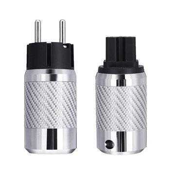 Audio Rhodium Plating Luidspreker EU-stekker IEC Man Vrouw Audio Connector Koolstofvezel