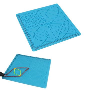 C-Type Blue 3D Printing Pen Tekenhulpmiddelen Silicone Design Mat met Basis Template + 2 stks Isolatie Silicone Finger Caps Kit