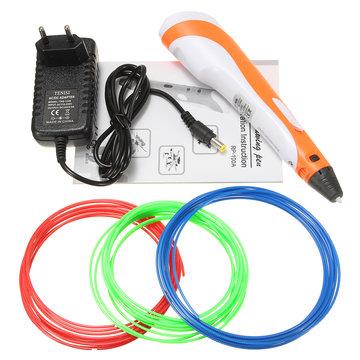 12V 3A 1,75 mm 0,7 mm Nozzle Geel / Rood 3D-drukpen + 3 filamenten voor kinderen