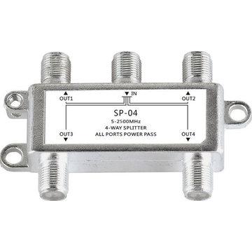 Jasen SP04 Satelliet 4-weg Coax Kabel Splitter Bi-directionele MoCA Connector Ontworpen voor SATV / CATV