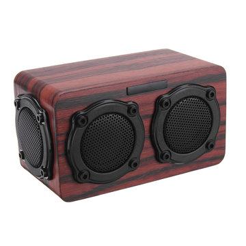 Kingneed S403 Bluetooth Draadloze Houten 2 Luidspreker 2 Bass Membraan 2x3W Luidspreker