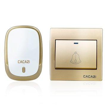 CACAZI AC110-220V Draadloze deurbel Waterdicht 1 knop + 1 plug-in ontvangers 300M externe muziekdeur Dell