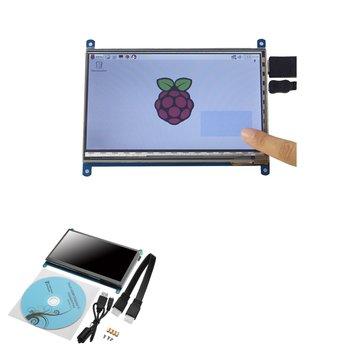 Geekcreit® 7 Inch 1024 x 600 HD Capacitief IPS Lcd-scherm 5-punts touchscreen Ondersteuning Raspberry pi / Banana Pi / Beaglebone zwart