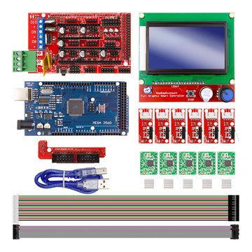 Rampas 1.4 Controller + Mega2560 R3 + 12864 Display met eindschakelaar & A4988 Stappenmotor Driver DIY-kit voor CNC 3D-printer