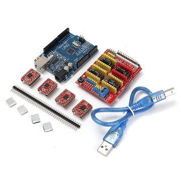 3X Geekcreit CNC Shield + UNO R3 Board + 4x A4988 Driver Kit met koellichaam voor 3D-printer