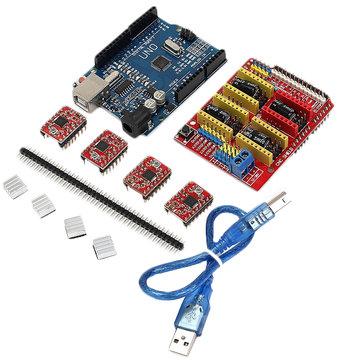 Geekcreit CNC Shield UNO-R3 Board 4xA4988 driver kit met koellichaam voor graveur 3D-printer