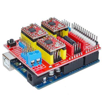 Geekcreit UNO R3 Met 4 stks A4988 Driver Met CNC Shield V3 Uitbreidingskaart Voor 3D Printer