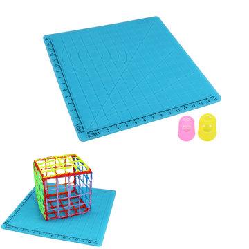 A-type blauwe siliconen 3D-printer Pen Tools Ontwerpmat met basissjabloon + 2 stks isolatie siliconen vingerkoppelingsset
