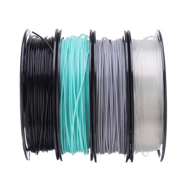 CCTREE® Zwart + Cyaan + Grijs + Transparante set 200 g / rol 1,75 mm ST-PLA-filament voor 3D-printer