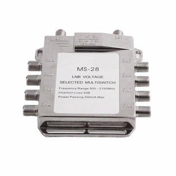 Jasen JS-MS28 2 in 8 Diseqc Switch Satelliet Multiswitch Satelliet Antenne Flat LNB Switch voor TV Ontvanger