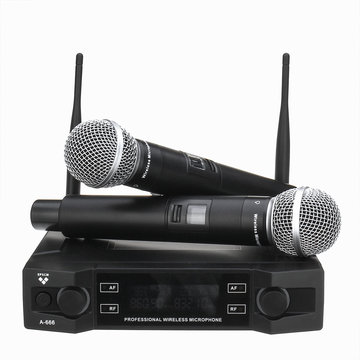 EPXCM A-666 UHF Draadloos 2CH Handheld Mic Cardioïde Microfoon Systeem voor Kraoke Speech Party