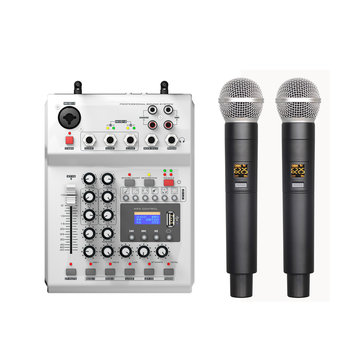 FOLE F-12T-USB KTV Stage DJ Audio Mixer Mengpaneel met Display met 2 Microfoon