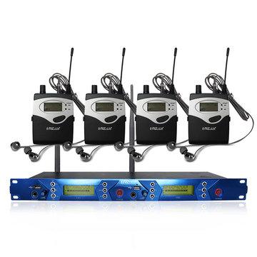 ERzhen One naar vier dual-channel draadloze koptelefoon KTV Karaoke Stage microfoon-monitorsysteem