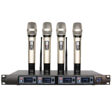 U-F4000 Professional UHF 4 Channel 4 Handheld Draadloos LCD Display Home Karaoke Microfoon Systeem