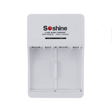 Soshine V1 9V Li-ion Oplaadbare Ni-MH 2-batterijlader