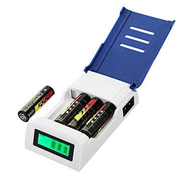 Doublepow K209 4-vaks Snellader AA AAA Rechageable Batterij Slimme oplader met display