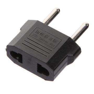 Flat to Round Plug Adapter Converter voor Europa zwart