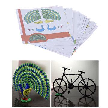 22 Stks / pak 44 Patronen 3D Printing Pen dubbelzijdig Cartoon Tekenpapier met Transparante Sjabloon Kopiëren Graffiti Board voor DIY Kinderen Kids