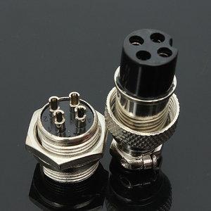 5 stuks GX16-4 4-pins 16mm Aviation Pug mannelijke en vrouwelijke paneel metalen connector